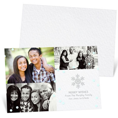 Blue Confetti Holiday Photo Cards