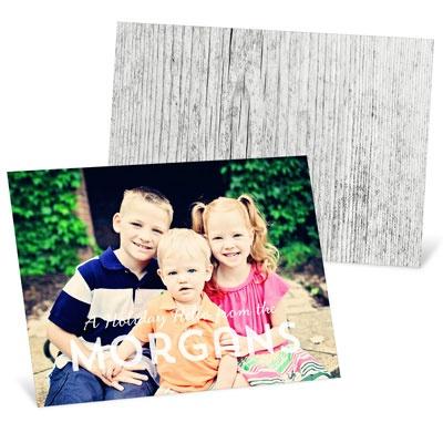 Wood Back Photo Holiday Photo Cards