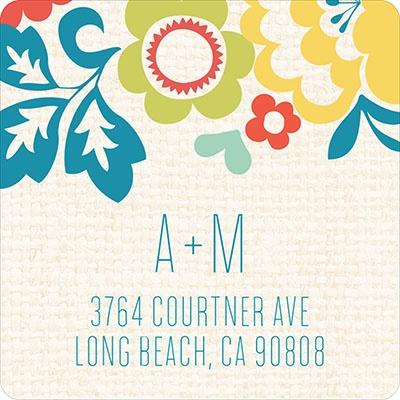 Summer Bouquet Wedding Address Labels