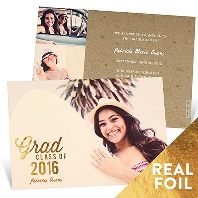 Favorite Photo Gold Foil Graduation Announcements