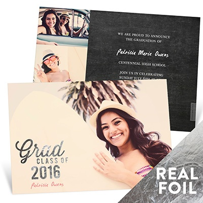 Favorite Photo Silver Foil College Graduation Announcements