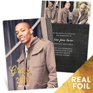 Favorite Photo Gold Foil Vertical Graduation Announcements