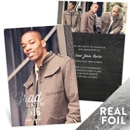 Favorite Photo Silver Foil Vertical Graduation Announcements