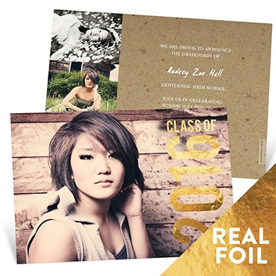 Gold Foil Stamped Year Graduation Announcements