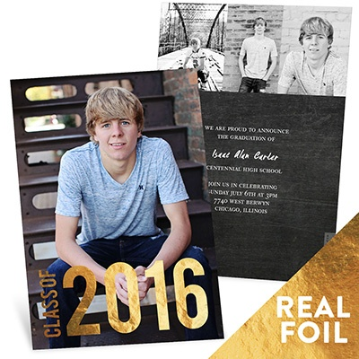 Gold Foil Stamped Year Vertical Graduation Announcements