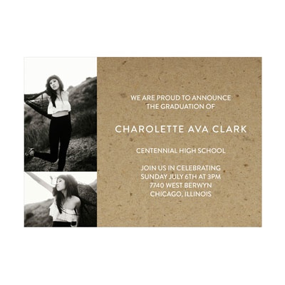 Photo Paper Rustic Backgrounds Graduation Announcements
