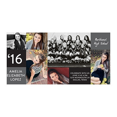 Photo Paper Color Block Graduation Announcements