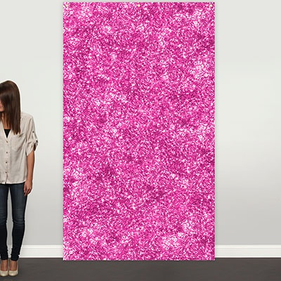 Pink Faux Glitter Photo Backdrop Graduation Party Decorations