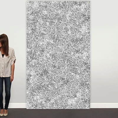Silver Faux Glitter Photo Backdrop Graduation Party Decorations