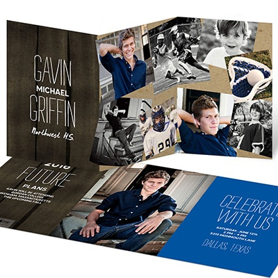 Scattered Pictures Trifold Graduation Announcements