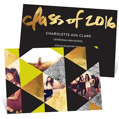 Faux Foil Triangles Graduation Announcements