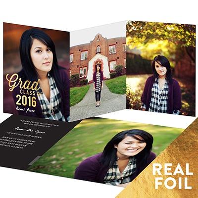 Favorite Photos Gold Foil Trifold Graduation Announcements