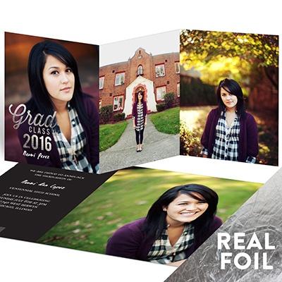 Favorite Photos Silver Foil Trifold Graduation Announcements