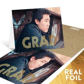 Lines of Distinction Gold Foil -- Graduation Thank You Cards