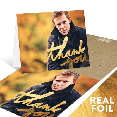 Painted Thanks Gold Foil Graduation Thank You Cards