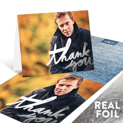 Painted Thanks Silver Foil Graduation Thank You Cards
