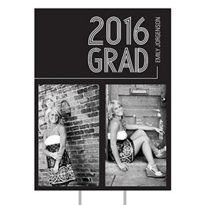 Striped Success Vertical Yard Sign -- Graduation Party Decorations