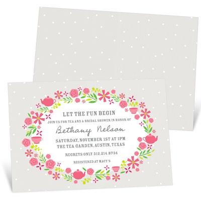 Tea & Flowers Bridal Shower Invitations