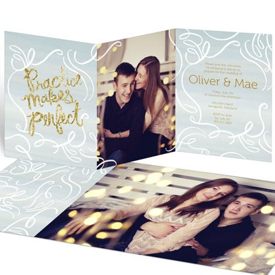 Practice Makes Perfect Gold Rehearsal Dinner Invitations