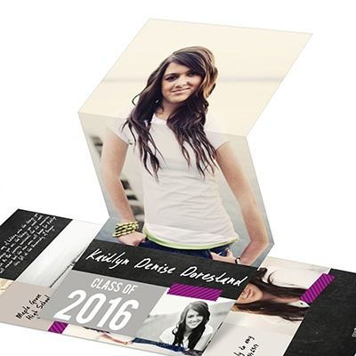 Candid Collage Vertical Trifold Graduation Announcements