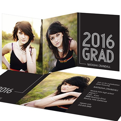 Striped Success Trifold For Her Graduation Announcements