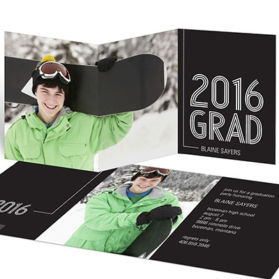 Striped Success Trifold For Him Graduation Announcements