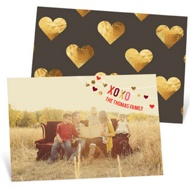 Hanging Hearts Horizontal Valentine's Day Photo Cards