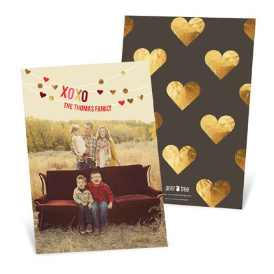 Hanging Hearts Vertical Valentine's Day Photo Cards