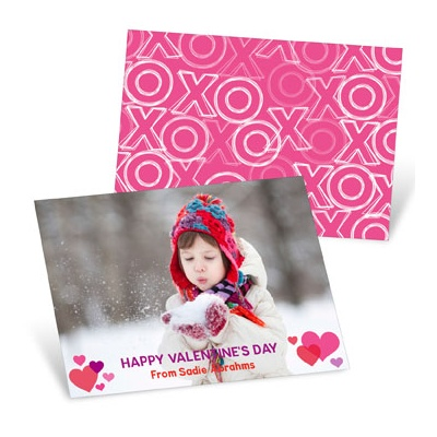 Pink And Purple Hearts Valentine's Day Cards For Kids