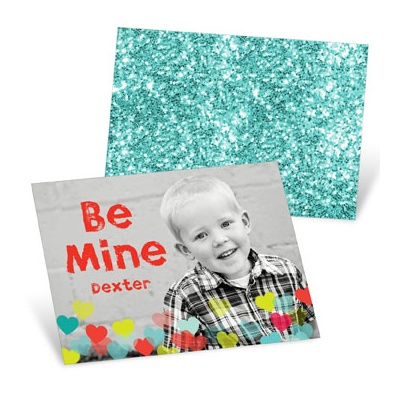 Heart Sprinkles Aqua Valentine's Day Cards For Kids