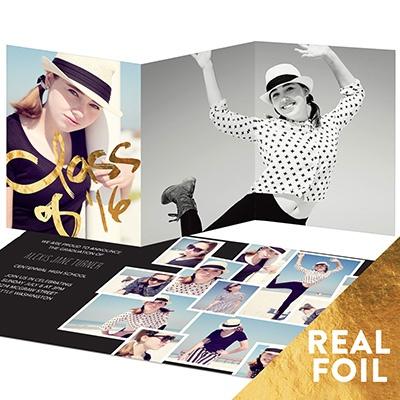 Gold Foil Photo Collage Graduation Announcements