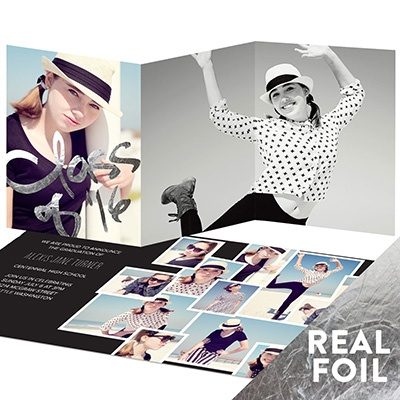 Silver Foil Photo Collage Graduation Announcements