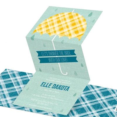 Plaid Umbrella Bridal Shower Invitations