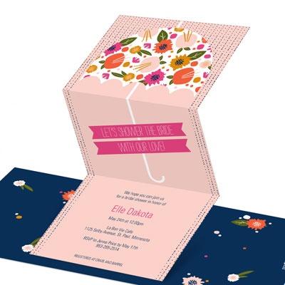 Floral Umbrella Bridal Shower Invitations
