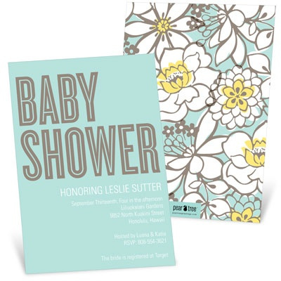 Burst Of Blooms Baby Shower Invitations