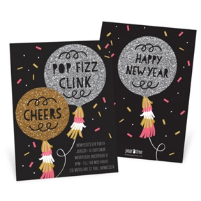 Faux Glitter Fizz -- Holiday Party Invitations