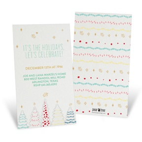 Twinkling Trees -- Holiday Party Invitations