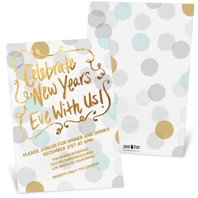 Festive Gold Faux Foil Holiday Party Invitations