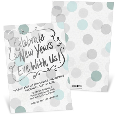Festive Silver Faux Foil Holiday Party Invitations