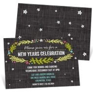 Modern Wreath Holiday Party Invitations