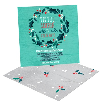 Holly Wreath In Teal Holiday Party Invitations