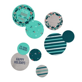 Holly Wreath In Teal Table Decor -- Party Decorations