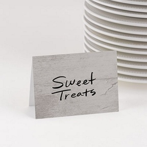 Gray Wood Grain Table Cards -- Party Decorations