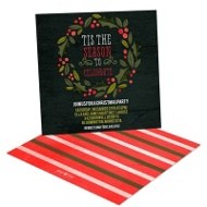 Holly Wreath In Black Holiday Party Invitations
