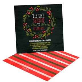 Holly Wreath In Black -- Holiday Party Invitations