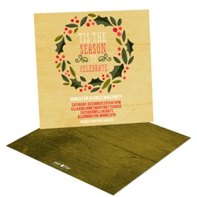 Holly Wreath In Yellow Gold -- Holiday Party Invitations