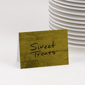 Green Wood Grain Table Cards -- Party Decorations