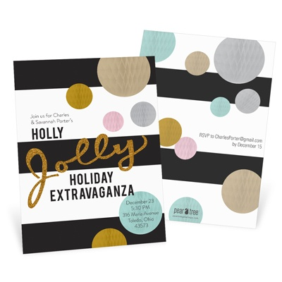 Jolly Gold Faux Glitter Holiday Party Invitations