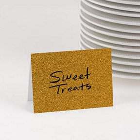 Jolly Gold Faux Glitter Table Cards -- Party Decorations