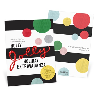 Jolly Red Faux Glitter Holiday Party Invitations